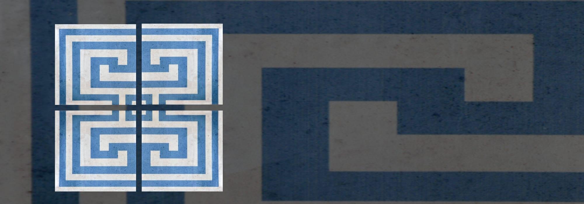 אריח קרמיקה פינה מפתח יווני כחול 20*20 by Milstone