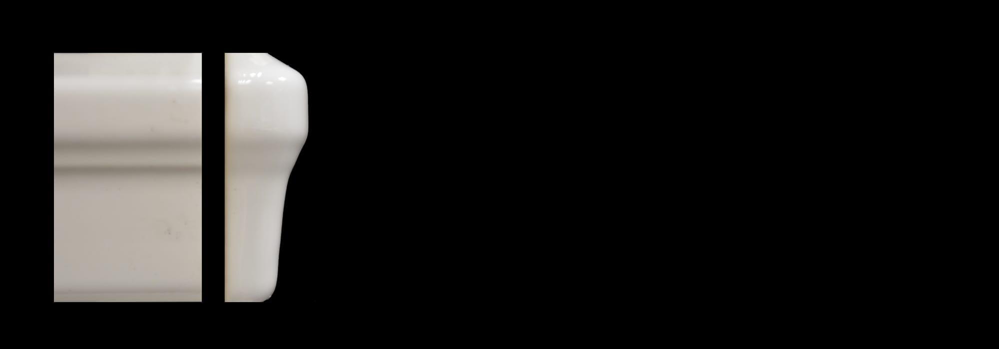 פינה קרמיקה לבן מבריק (דגם 8)  30*5 by Milstone