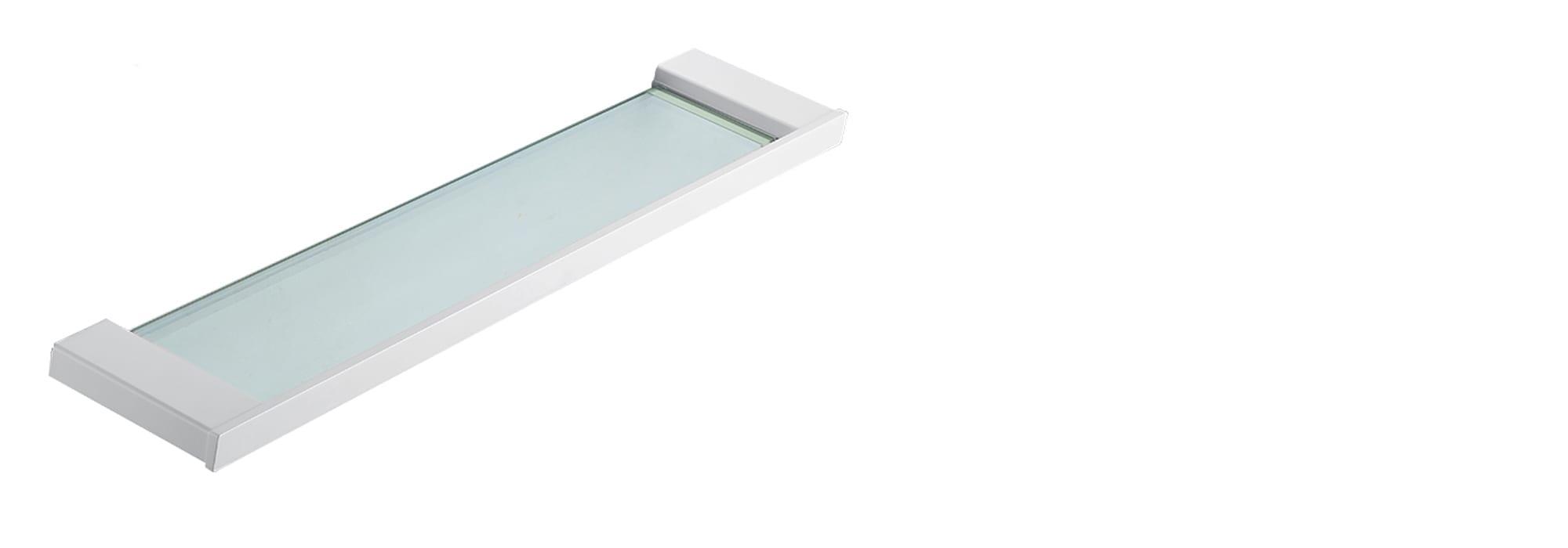 White Minimal Glass Shelf matt by Milstone
